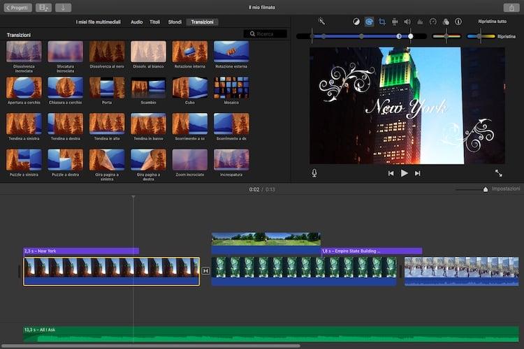 iMovie montaggio video